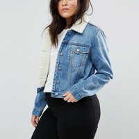 ASOS CURVE Denim Shrunken Borg Jacket in Tammy Midwash Blue at asos.com