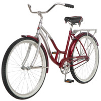 Women's 26-inch Beach Cruiser Bike in Silver & Red