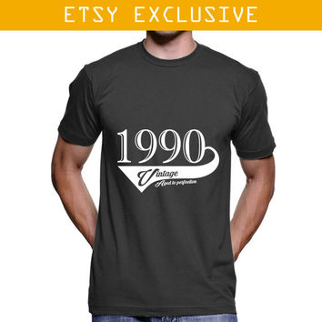 1990 Birthday Gift - Vintage Aged To Perfection T Shirt , 1990 T Shirt , Age to Perfection , Birthday Shirt