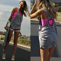 Casual Sleeveless Regular Vest Tops Backless Tank