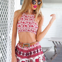 Red Printed Halter Jumpsuits