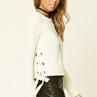 Lace-Up Crew Sweater