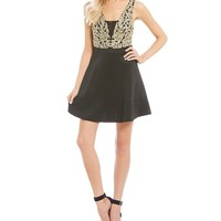 Honey and Rosie Metallic Embroidered Fit-And-Flare Dress   Dillards