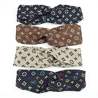 LV Louis Vuitton Popular Sport Print Cross Silk Headband Headband Headwrap Head Hair Band(4-Color) I12309-1