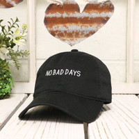 No Bad Days Baseball Hat Low Profile Embroidered BLACK Baseball Caps Dad Hats White Thread