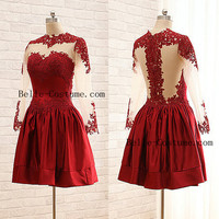Lace Red Prom Dress, Lace Short Red Prom Dresses, Short Lace Red Prom Dress