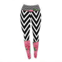 "Suzanne Carter ""Camellia"" Chevron Flower Yoga Leggings"