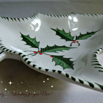 Italian Handpainted White Ceramic Christmas Tree Dish Entertaining Candy Nuts Soaps