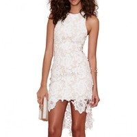 Rose Lace Dress With Dipped Hem