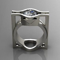 AMAZING 4.30CT WHITE ROUND 925 STERLING SILVER ENGAGEMENT AND WEDDING RING