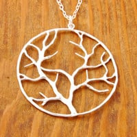 Tree of Life Necklace - silver tree necklace, tree in circle, branch necklace, leaf necklace, nature jewelry