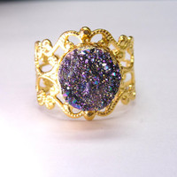 Druzy gold plated ring, peacock druzy ring, classic glamor jewelry,bridesmaid gift,OOAK(D09R)