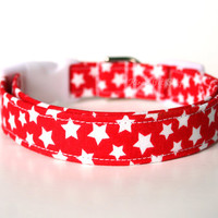 Handmade Dog/Cat Collar - Red & White Stars - Made to Order Adjustable Fabric Dog Collar Accessory Pet Accessories White Plastic Hardware