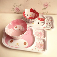 Hello Kitty Cute Child Melody Rice Dish Snack Plate Grid Plastic Tray