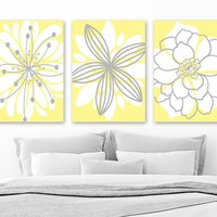 Flower Pictures, Yellow Gray Nursery Decor, YELLOW GRAY Bedroom Wall Art Canvas or Prints Yellow Gray Bathroom Decor, Set of 3 Wall Decor