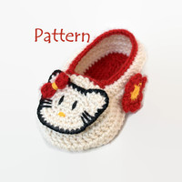 PATTERN:  Hello Kitty - Crochet Baby booties/ slippers/ loafers/ clogs/ cleats/ sneakers/ moccasins for girls  size 0/6 months