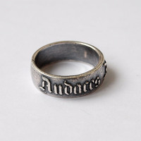 Audaces fortuna juvat, Latin word ring, Latin ring, Silver plated ring, Unusual ring, Rings, Fashion jewelry, Handmade jewellery