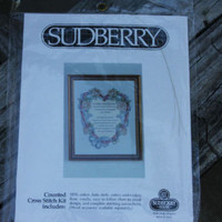 "Sudberry house Cross Stitch 5"" x 8"" Kit Wedding Ring Floral Heart Donna Giampa"