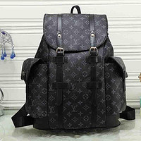 LV Louis Vuitton Cute Pattern Leather Travel Bag Backpack Daypack