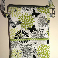 Nurse Bag, Organizer, Stethoscope, Blood Pressure Cuff, CNA, RN, LPN, Midwife, Doula, Travel bag/Diaper Bag. Green and Black Butterflies!