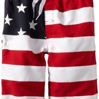 Wes and Willy Big Boys' Stars And Stripes Swim Trunk, Vm Red, Small