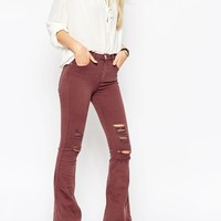 ASOS Belle Flare Jeans In Red Rust With Shredded Rips
