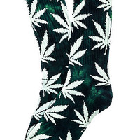 The Tie Dye Plantlife Crew Socks in Lime & Navy