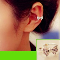 Bow Rhinestone Ear Cuff Ring (Single, No Piercing, Adjustable)