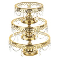 3-Piece Shiny Metallic Glass Top Cake Stand Set (Gold Plated)