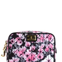Black/Pink Floral Malibu Nylon Small Cosmetic Pouch by Juicy Couture, O/S