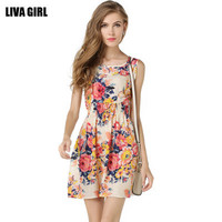 [ On Sale ] Summer Chiffon Floral Printed Sleeveless Casual Mini Skirt Dress One Piece Dress for Party Beach Holiday _ 3182