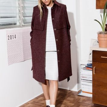 & Other Stories | Wool Trench Coat | Red Dark