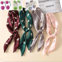 new 20108 Alpaca Print scarf women soft bandana Hair Scarf fashion Satin handkerchief Silk Square Scarf For Female 27""