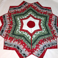 Christmas Tree Skirt, Quilted with Red & Silver Metallic Fabrics, Chevron Quilt, Housewarming Gift, Elegant Quilt Decor, Quiltsy Handmade
