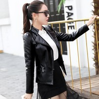 Trendy Spring And Autumn New Style Women Long Sleeve Slim Thin Leather Bomber Jackets Coat Large Size S-5XL AT_94_13