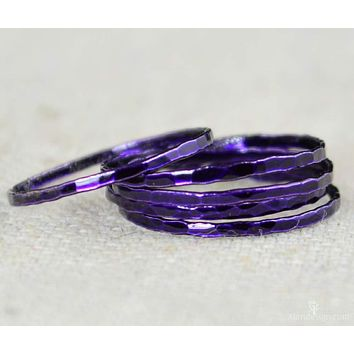 Super Thin Violet Silver Stackable Ring