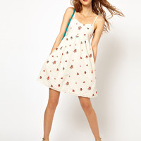Paul and Joe Sister Open Back Sundress with Bright Floral Embroidery