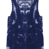 Blue Crochet Lace Vest with Mesh Insert