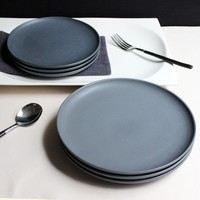 JK Home 1 Pcs Ceramic Plate Bowl Set Sample Dark Gray Steak Plate Dish Top Quality Dinner Plates China Bone Ceramic Gift