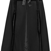 Alexander McQueen - Hooded velvet-trimmed wool cape