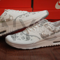Nike Air Max Thea White Leopard Cheetah Swarovski Crystal Accent Blinged Out Custom Women