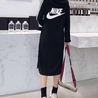 """Nike"" Women Sport Casual Stripe Zip Pocket Hooded Long Sleeve Mini Dress"