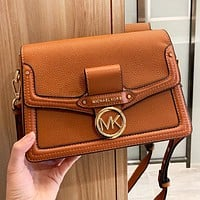 MK New fashion leather solid color shoulder bag crossbody bag Brown