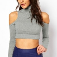 Tshirt Printing Women Off Shoulder Tee Shirt Elastic Polo Neck Long Sleeves Cropped Top T-Shirt_T-shirt_Women's Tops_Women_The Latest Trends & Fashion Clothing For Women Online Store-www.dressin.com
