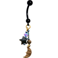 Handcrafted Titanium Celestial Star and Moon Belly Ring MADE WITH SWAROVSKI ELEMENTS   Body Candy Body Jewelry
