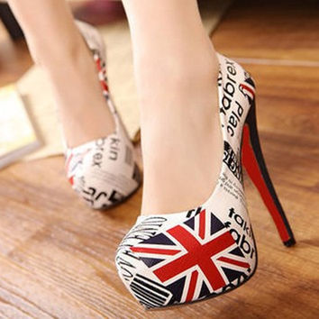 2016 New Brand British Flag Union Jack + Newspapers Women Pumps High-heeled Shoes Chaussure Femme Women's Star Scarpe Donna
