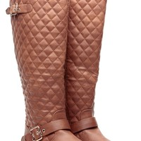 Tan Faux Leather Knee High Quilted Buckle Up Boots @ Cicihot Boots Catalog:women's winter boots,leather thigh high boots,black platform knee high boots,over the knee boots,Go Go boots,cowgirl boots,gladiator boots,womens dress boots,skirt boots.