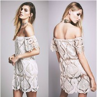 Fashion Simple Off Shoulder Short Sleeve Hollow Lace Mini Dress