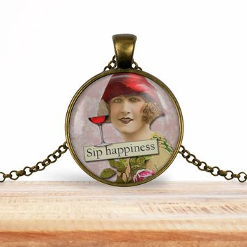Retro girl wine pendant necklace, Sip happiness, choice of silver or bronze, key ring option