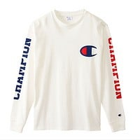 Champion thin section of the C double-sleeved letter printing long-sleeved T shirt wild jacket men and women models White